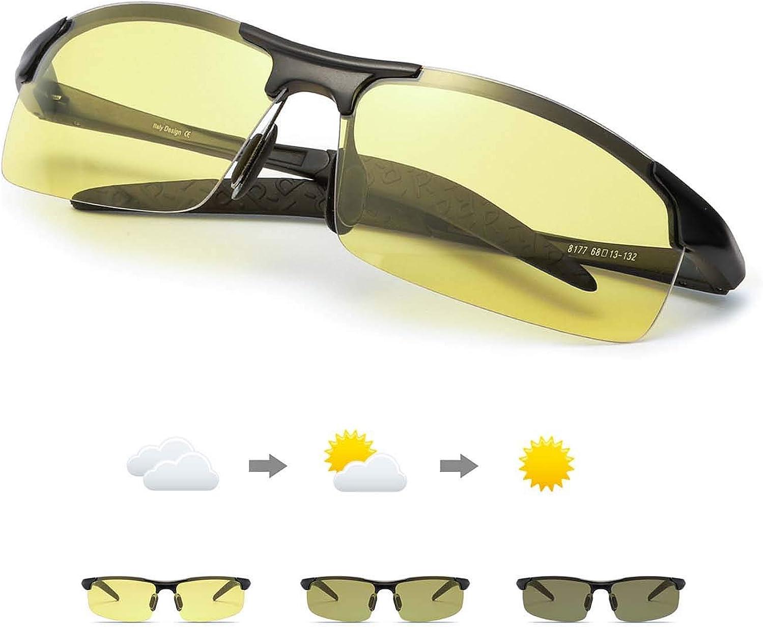 TJUTR Fotocromaticas Gafas de Sol para Conducción Nocturna Polarizadas Hombre, Marco de Metal Anti Reflectante Gafas Nocturna - 100% Protección UVA UVB