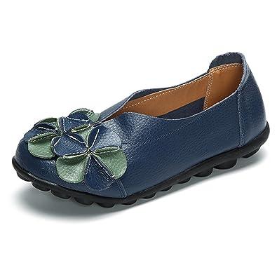 gracosy Damen Espadrilles, Leder Mokassins Blume Slippers Schuhe für Sommer Freizeitschuhe Leder Ultra Bequem Flache Bootsschuhe Blau 42