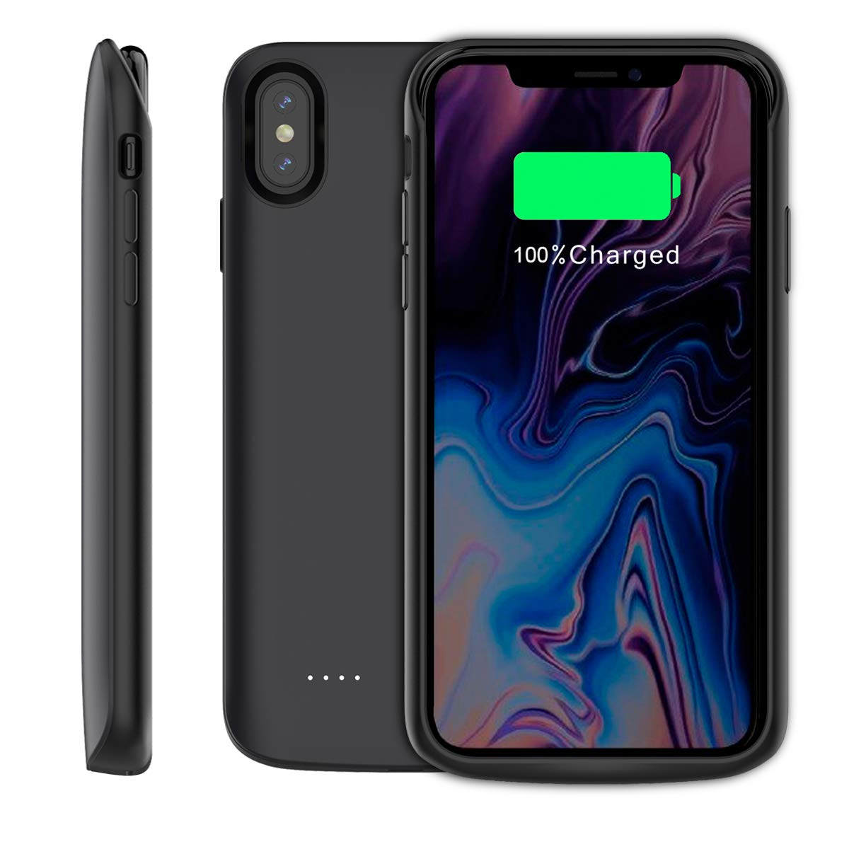 iPhone Xs Max Battery Case 6000mAh, Fusutonus Extended Charger Case Backup Battery Charger Protective Case [Rechargeable Extended Battery Pack] Compatible iPhone Xs Max 6.5 inch 2018 - Black N150-0R-358
