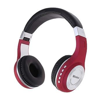 Uonlytech Estéreo de Auriculares inalámbricos Bluetooth para Deportes de Negocios de Juegos de computadora (Rojo): Amazon.es: Electrónica