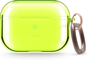 elago Clear Airpods Pro Case with Keychain Designed for Apple Airpods Pro - Gel Tape Included (Neon Yellow)