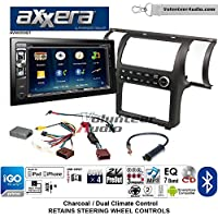 Volunteer Audio Axxera AVN6558BT Double Din Radio Install Kit with Navigation Bluetooth CD/DVD Player Fits 2003-2004 Infiniti G35 (Charcoal) (Dual zone A/C controls)