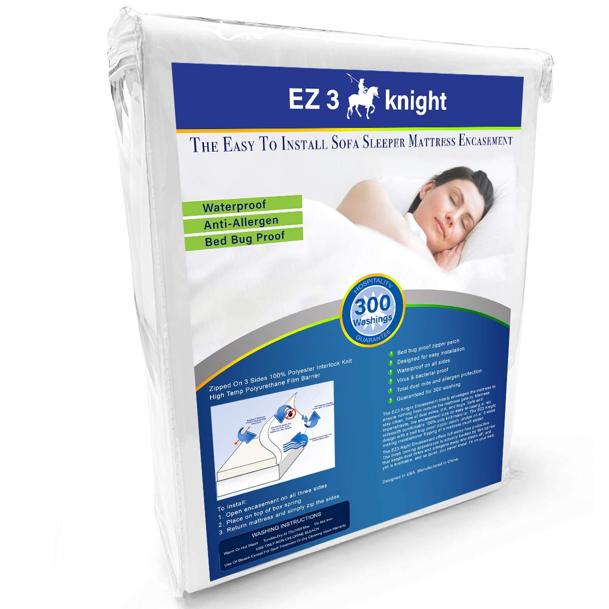 EZ3 Knight Mattress Encasement - Quality Mattress Protector Designed with 100% Waterproof, Virus & Bacteria Proof, Hypoallergenic Poly-Knit Material (Queen Sofa Sleeper)