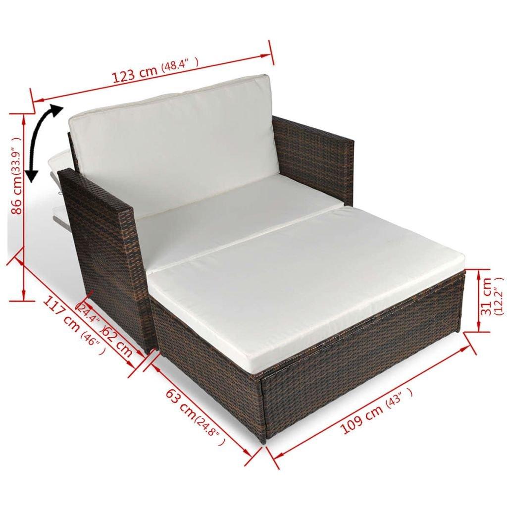 Tidyard Conjunto Muebles de Jardín de Ratán 5 Piezas con ...