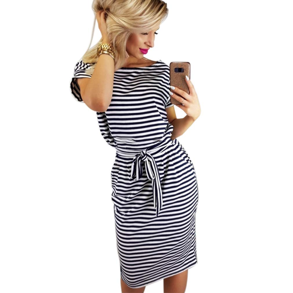Poperdision Women's Elegant Pencil Dress Short Sleeve Wear to Work Casual Office Dress Belt Black Stripe S