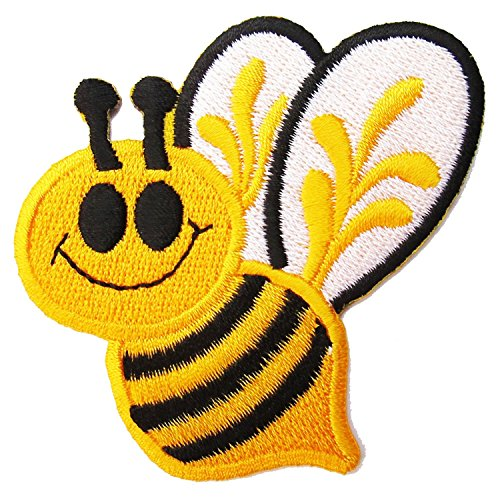 HHO Mr. BEE patch Embroidered DIY Patches, Cute Applique Sew Iron on Kids Craft Patch for Bags Jackets Jeans ()