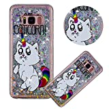 Glitter Painting Quicksand Case for Samsung Galaxy S8,Soft Clear TPU Case for Samsung Galaxy S8,Moiky Creative Kitten Unicorn Pattern Painted Liquid Sparkly Quicksand Crystal Clear Protective Case
