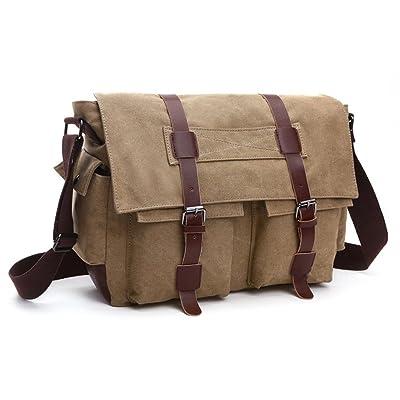 Lalagen Canvas Military Field Satchel Messenger Bag Khaki