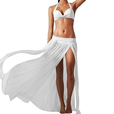 62e3056f5f1d iHee Beach Skirt Cover up, Women Chiffon High Split Long Maxi Beach Mesh Tulle  Skirt (White): Amazon.co.uk: Clothing