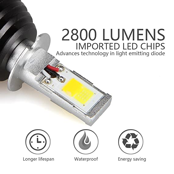 H3 LED Lámpara de niebla Blanco/Amarillo(6000K/3000K), 2800LM: Amazon.es: Coche y moto
