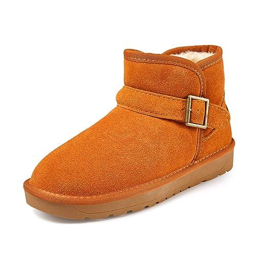 Botas Mujer Invierno Botines de Nieve Cortas Tobillo Zapatos Ante Sport Calzado Pelaje Impermeables Slip on Negro Café Gris Amarillo 35-45: Amazon.es: ...