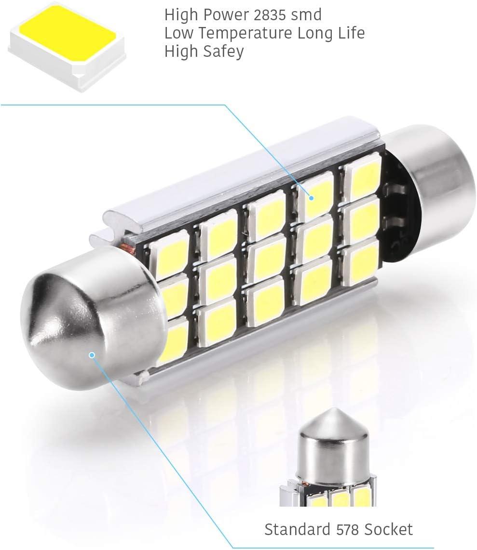 4pcs 3014-48SMD 2122 2142 578 576 560 569 Car LED White Light Bulb DC 12V 42mm