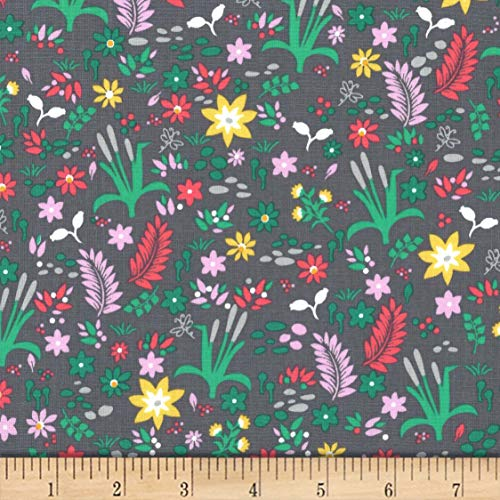 Michael Miller Goat Island Cattail Meadow Fabric, Stone, Fabric By The Yard