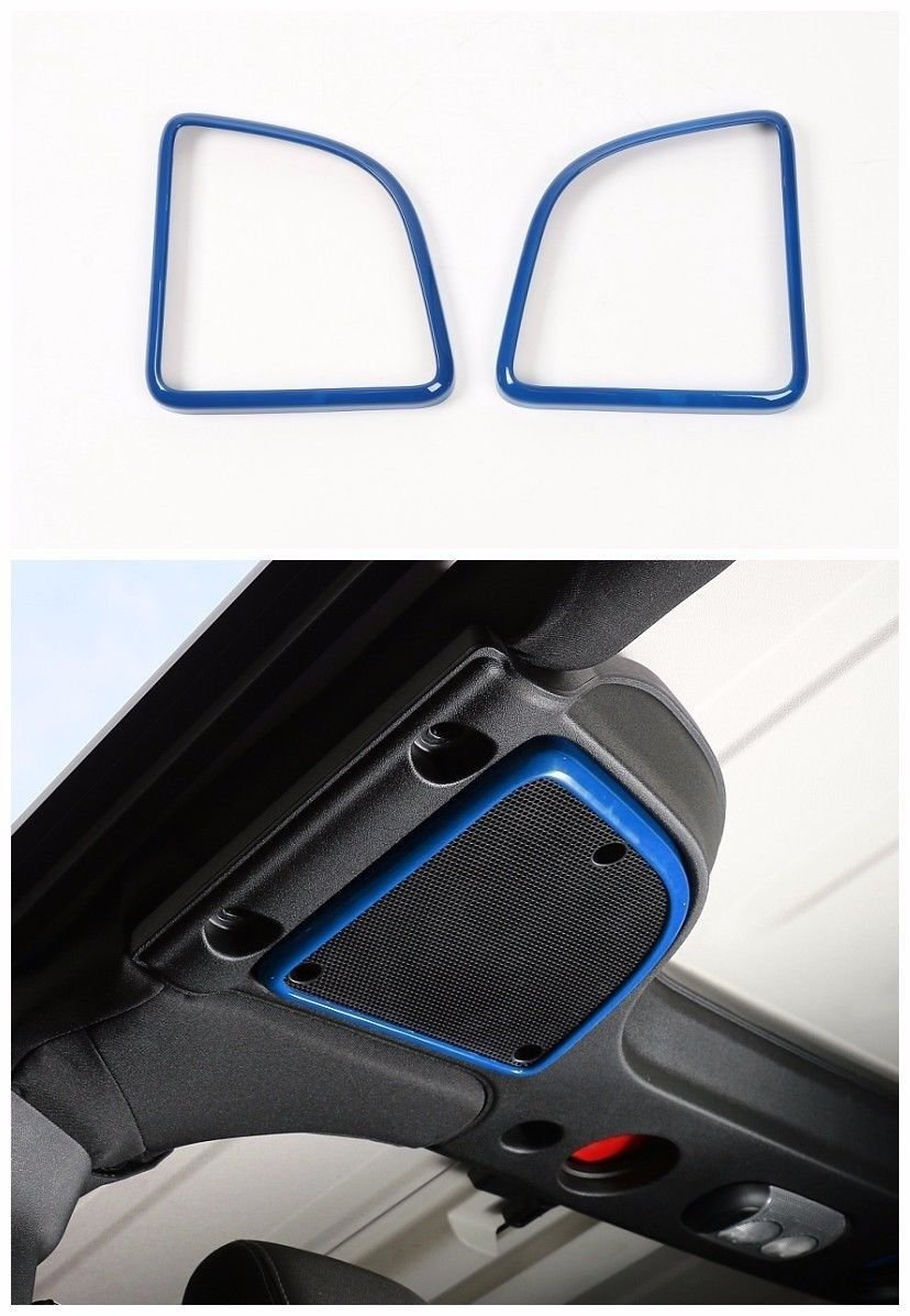Pulidi Car Roof Speakers Cover Frame Trims For Jeep Wrangler 2015-2016 Blue 2pcs