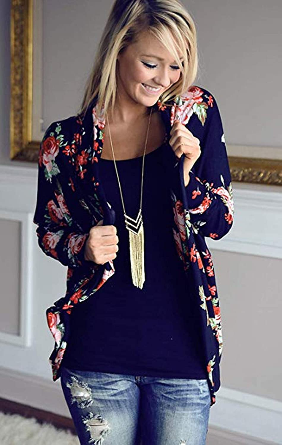 Womens Kimono Cardigan Floral Long Sleeve Open Front Cardigans Cotton Cover up Jacket