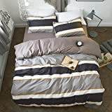 VClife Twin Boys Bedding Sets Stripe Duvet Cover with 2 Pillowcases, Reversible Brown Coffee White Geometric Pattern Design, Ultra Soft Hotel Quality Bedding Duvet Cover Sets for All Season, Soft