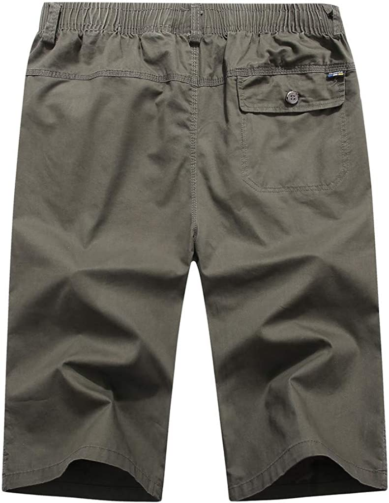 Mens Summer Casual Pure Color Loose Multi-Pocket Beach Calf-Length Sport Pants IHGTZS Shorts for Men