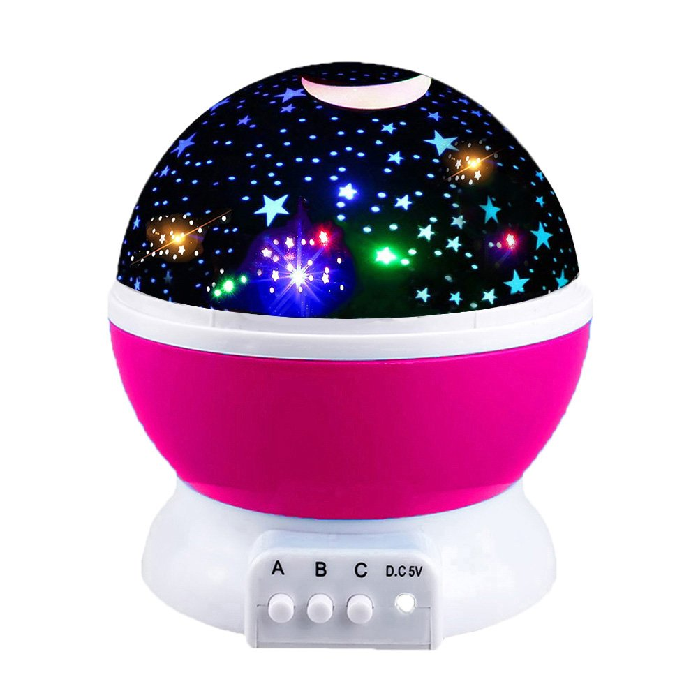Girls Toys Age 2-10, DIMY Night Light Moon Star Rotating for Kids Babies Toys for 3-10 Year Old Girls 2-10 Year Old Girl Gifts Pink DMUSNL03