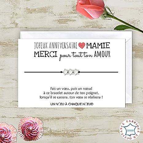 Carte De Voeux Joyeux Anniversaire Mamie Bracelet Porte Bonheur 3