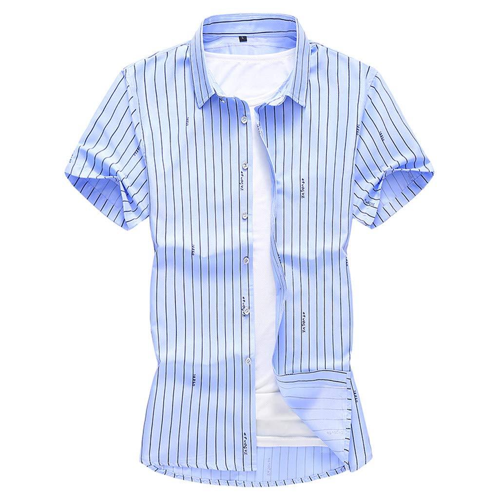 AcisuHu Men Baggy Shirts Short Sleeve Printed Top Beach Blouse Lightweight Slim Fit Vests Tank Tee