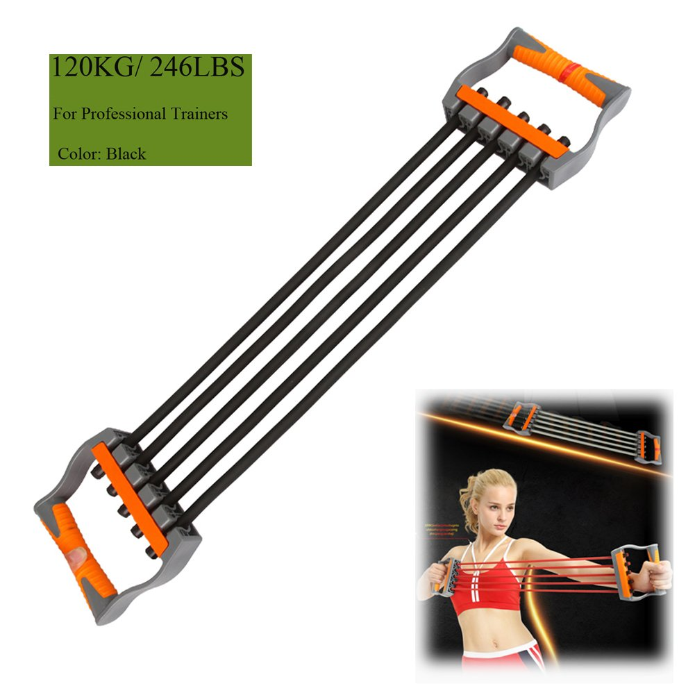 8f7619fcb8 Amazon.com   Ueasy Adjustable Chest Expander Resistance Exercise System  Bands Strength Trainer for Home Gym Muscle Training Exerciser (Black-120KG)    Sports ...