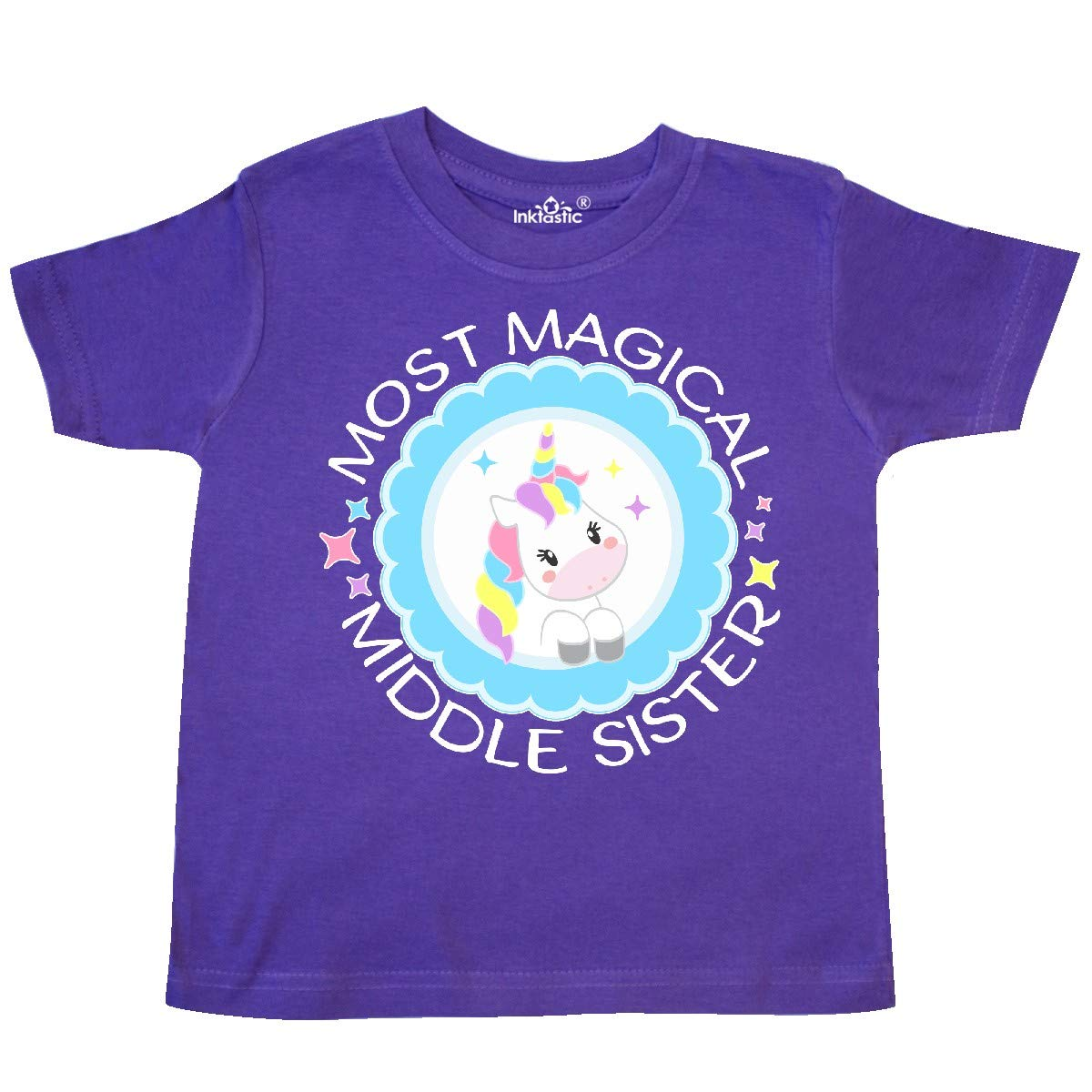 Cute Unicorn Badge Toddler T-Shirt inktastic Most Magical Middle Sister