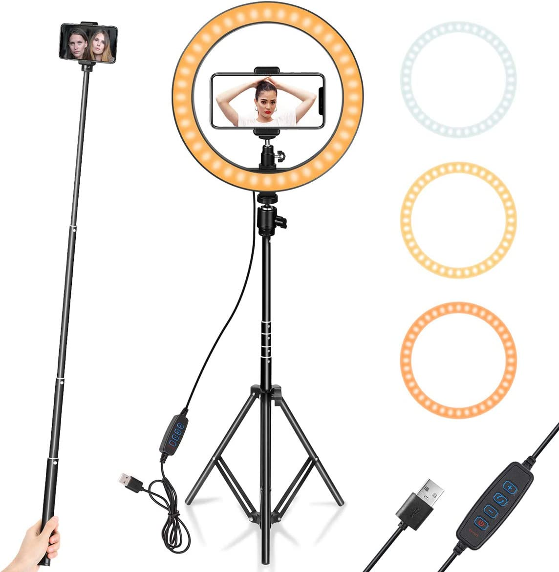 "Ring Light 10"" with Tripod Stand & Phone Holder for YouTube Video, Desktop Camera Led Ring Light"