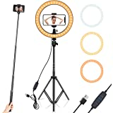 "Ring Light 10"" with Tripod Stand & Phone Holder for YouTube Video, Desktop Camera Led Ring Light for Streaming, Makeup, Selfie Photography Compatible with iPhone Android"