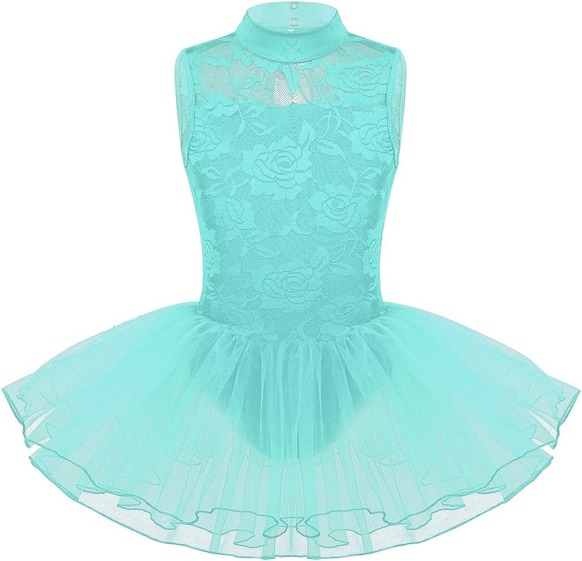 TiaoBug Ballettkleid M/ädchen /Ärmellos Ballettanzug Spitzen Rollkragen Body mit T/üll Tutu Rock Tanzkleid Ballettkleidung gr.110-164