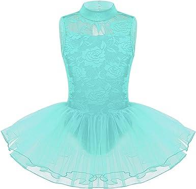 inhzoy Vestido Tutú de Danza Clásica para Niña Maillot Encaje de ...
