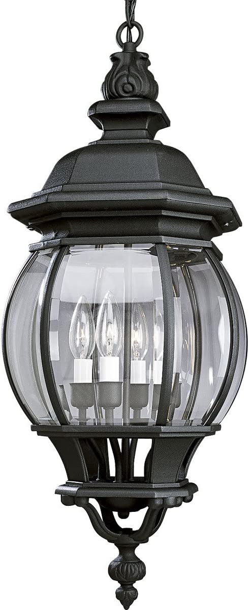 Progress Lighting P5501-31 Four Light Cast Hanging Lantern with Clear Beveled Glass, Textured Black