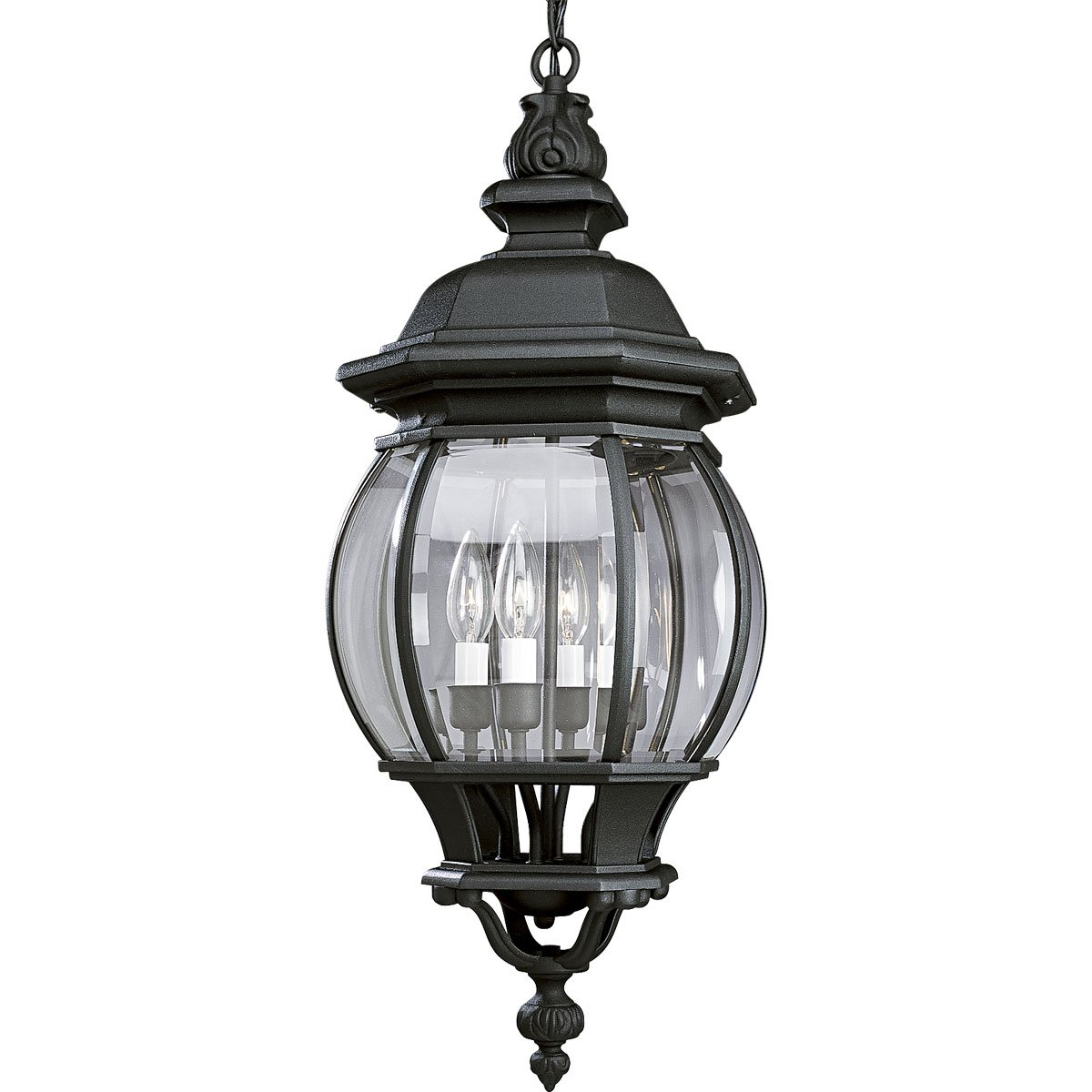 Progress Lighting P5501-31 Four Light Cast Hanging Lantern with Clear Beveled Glass, Textured Black
