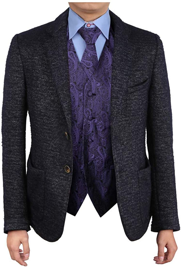 Epoint Men's Fashion Series Pattern Microfiber Dress Tuxedo Vest Neck Tie Set Mens