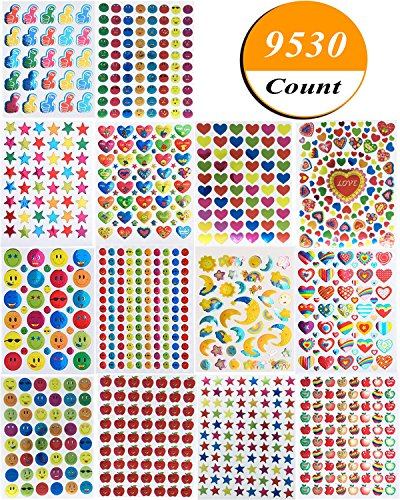 Kenkio 9530 Count Reward Stickers, Teacher Stickers for Kids Mega Variety Pack, Incentive Stickers for Teachers Classroom and School Bulk Use, Includes Smiley Face, Star, Heart,Moon, Apple