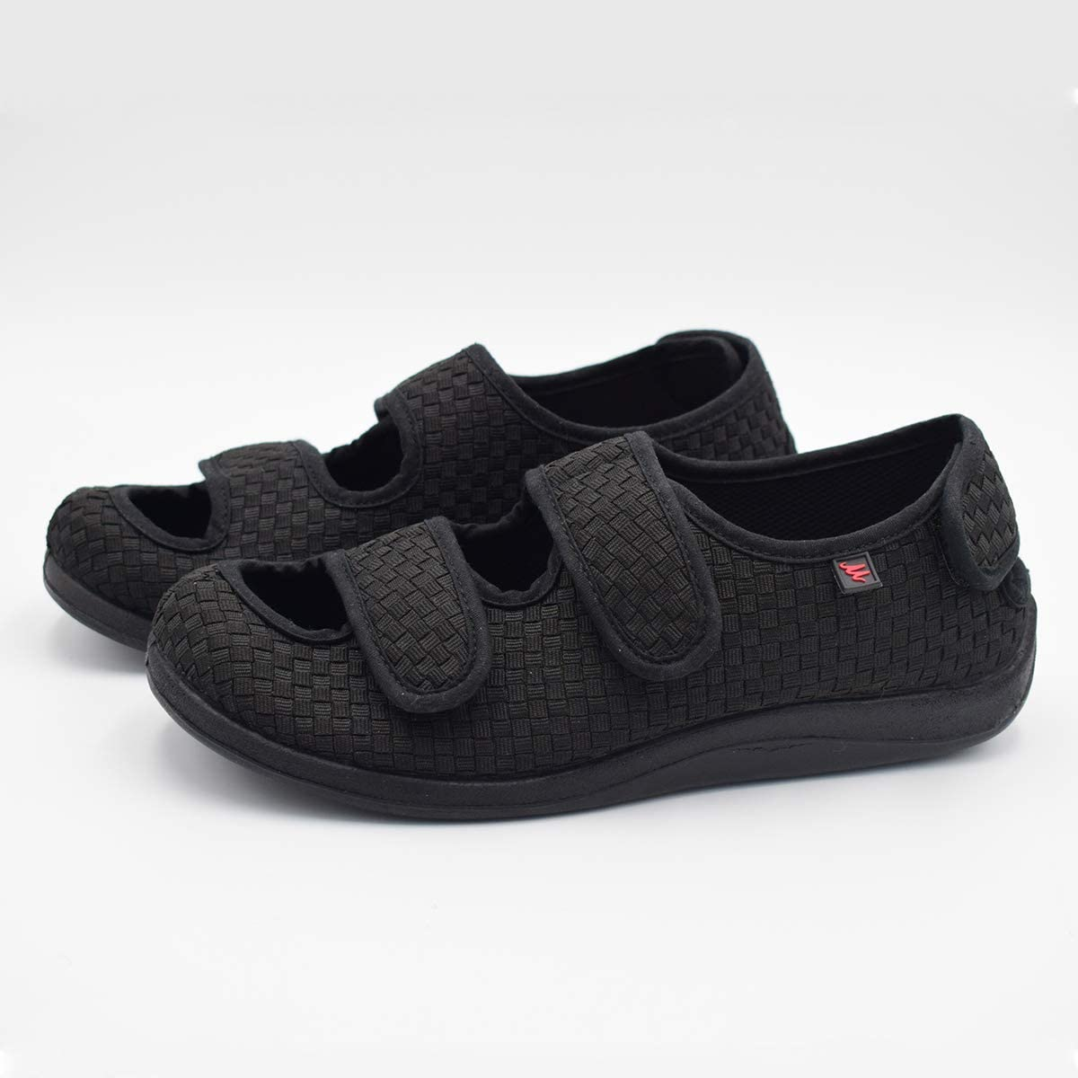 8 , Black Mei MACLEOD Womens Diabetic Extra Wide Slippers Adjustable Edama Shoes Women