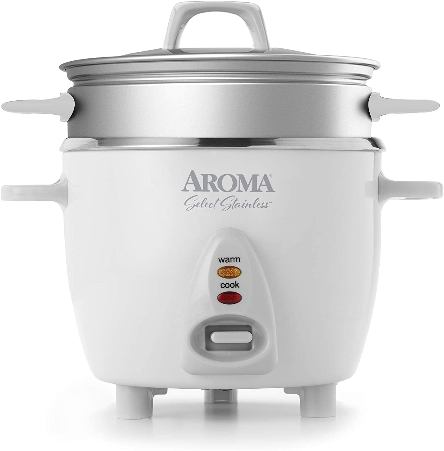 AROMA 6-Cup (Cooked) / 1.2Qt. Select Stainless Pot-Style Rice Cooker, & Food Steamer, One-Touch Operation, Automatic Keep Warm Mode, White (ARC-753-1SG)