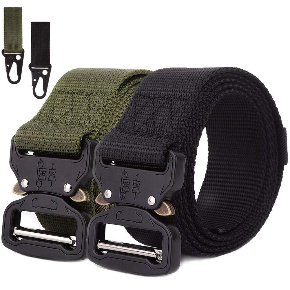 AIM Cloudbed 2-Pack Cinturón Táctico para Hombres, Cinturón Militar de Nylon Ajustable con Hebilla Cobra de Metal de Liberación Rápida con 2 Llaveros ...