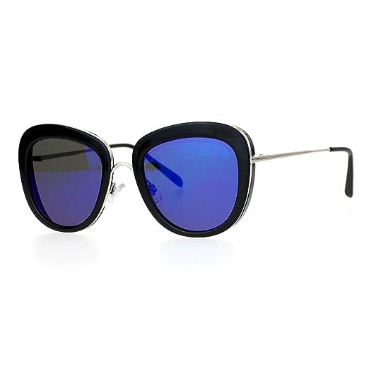 a6e15a1c9ae SA106 Womens Mirrored Mirror Lens Metal Core Brow Trim Butterfly Sunglasses  Black Blue