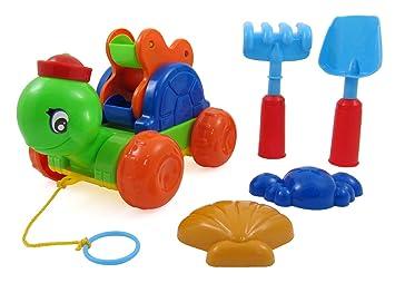 Liberty Imports Tortuga de arena rueda tirador Wagon juguete de playa para niños con pala,