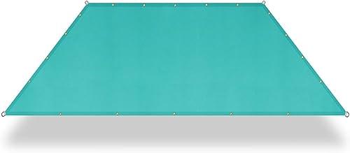 E K Sunrise 11' x 31' Waterproof Sun Shade Sail-Turquoise Green Straight Edge Rectangle UV Block Durable Awning Perfect