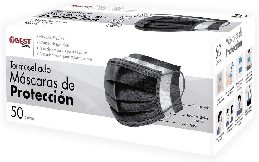 Best Trading Cubrebocas, Tapabocas Negro Termosellado con 3 Capas (50 Piezas)