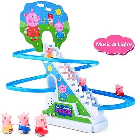 AMZYY Juego De Diapositivas con Música Tobogán De Cerdo Escalera Eléctrica Escalera Riel Coche Juguete Novedad Juguetes Regalos para Niños Pequeños Y Niños: Amazon.es: Hogar