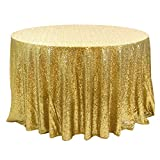 Koyal Wholesale 405000 Round Sequin Tablecloth, 132-Inch, Gold
