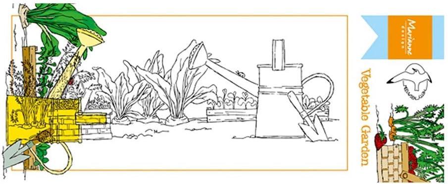 Marianne Design Clear Stamps Prato di Fiori di Confine per Progetti Creativi con i Timbri 8 x 18,5 cm