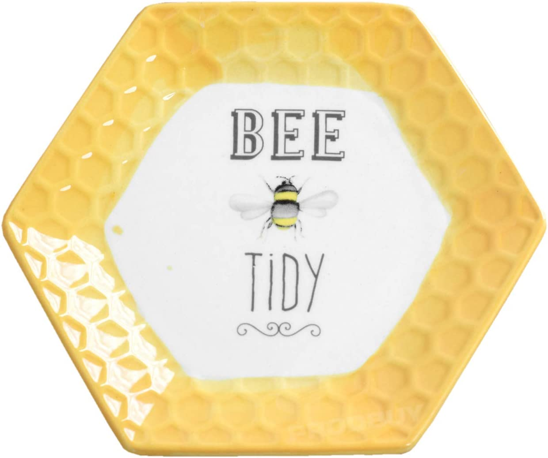 English Tableware Company Bee Happy Teabag Tidy Honeycomb Shape