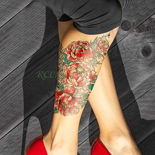 3Pcs-Etiqueta engomada del Tatuaje Impermeable Flor Rosa Corazón ...