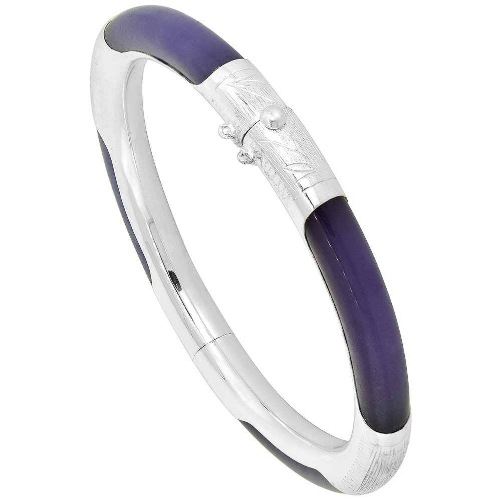 Sterling Silver Dyed Purple Jade Bangle Bracelet with Safety Chain, fits 6.5 to 7.5 wrist
