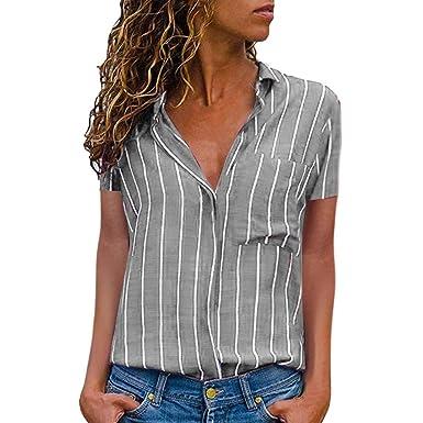 950b093adf Top Camicia a Maniche Lunghe con Bottoni a Righe Colorate da Donna ...