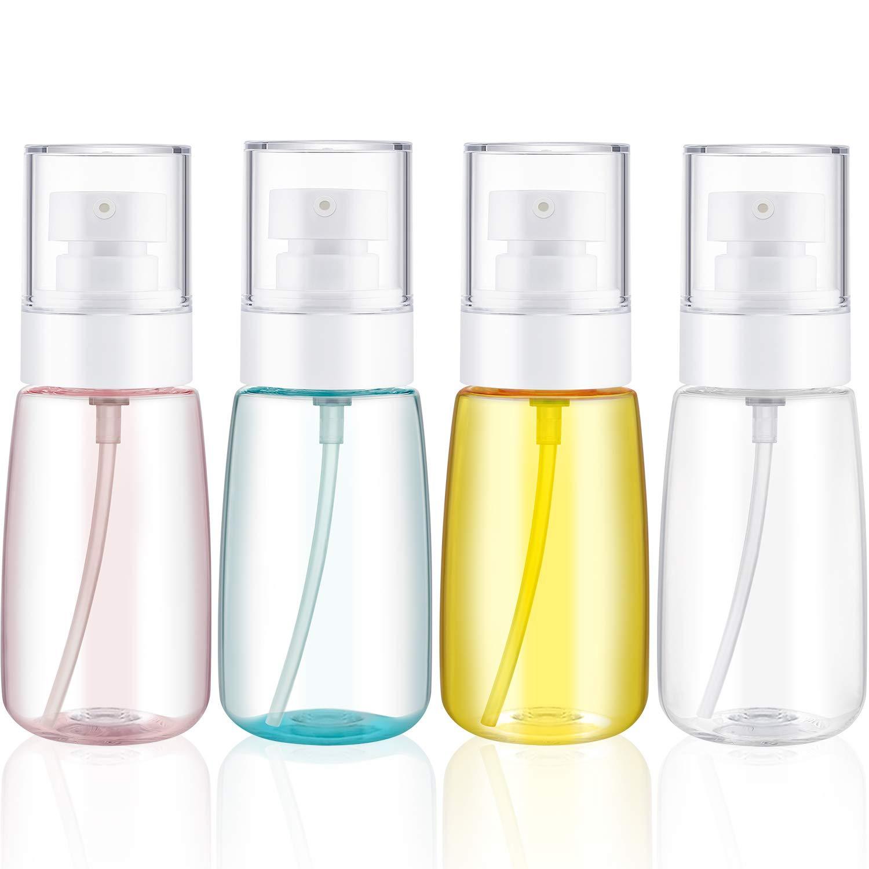 4 Pieces (2 Oz/ 60 ml) Travel Pump Bottles Lotion Bottles Transparent Bottles for Travel, Flight, Airport, Holiday
