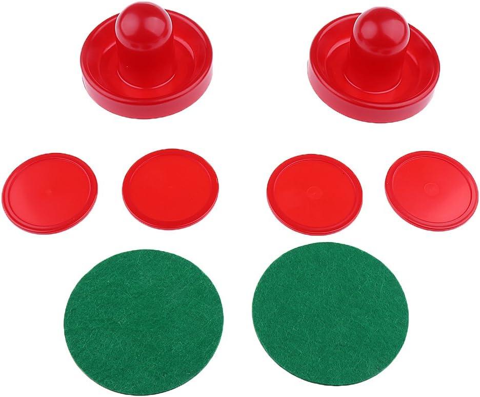 Homyl Set of Two Air Hockey Felt Pushers Strikers Goalies Plus Four Pucks 3 Sizes Options